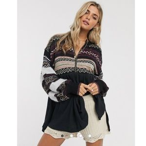 Free People Cozy Cottage Embroidered Tunic Sweater